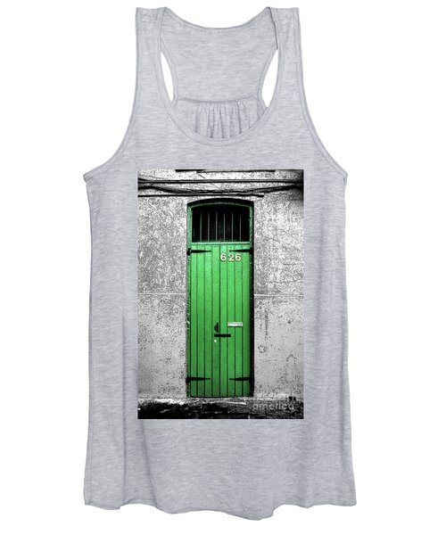 Colorful Arched Doorway French Quarter New Orleans Color Splash Black And White With Ink Outlines Women's Tank Top