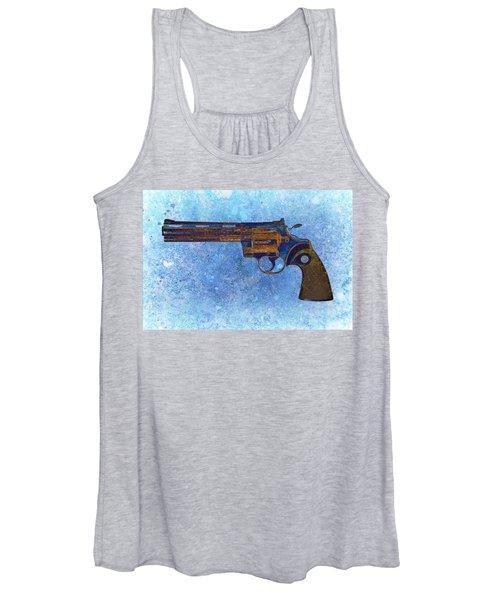 Colt Python 357 Mag On Blue Background. Women's Tank Top