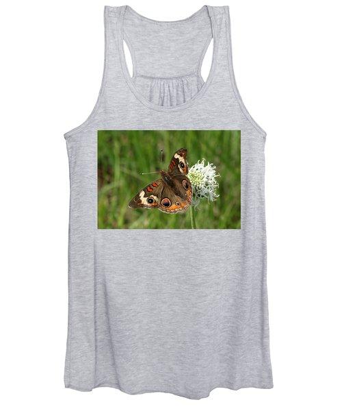 Common Buckeye Butterfly On Wildflower Women's Tank Top