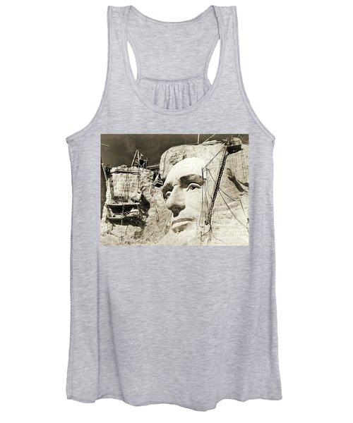 Construction Of The Mount Rushmore National Memorial, Detail Of Abraham Lincoln,1928  Women's Tank Top