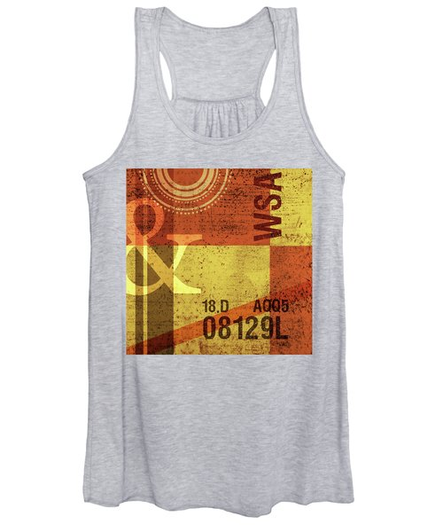Contemporary Abstract Industrial Art - Distressed Metal - Olive Yellow And Orange Women's Tank Top