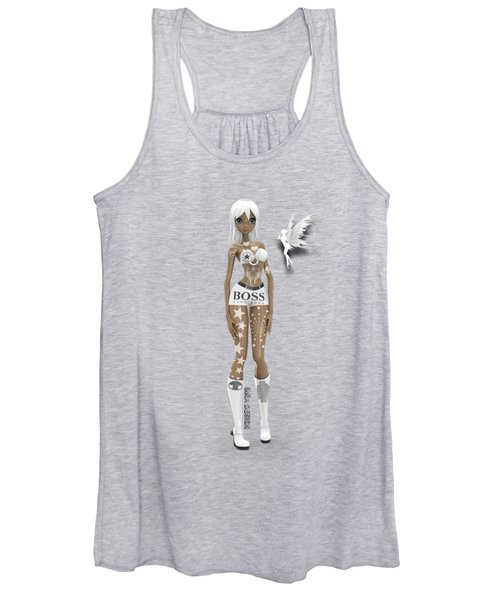 Cool 3d Manga Girl With Bling And Tattoos In White Women's Tank Top