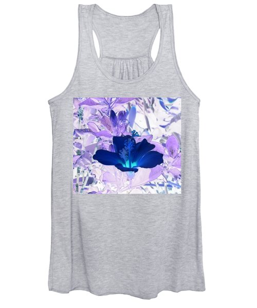 Cool Blue Hawaiian Hibiscus Women's Tank Top