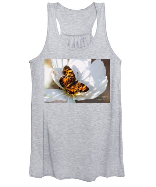 Pearl Crescent Butterfly On White Cosmo Flower Women's Tank Top