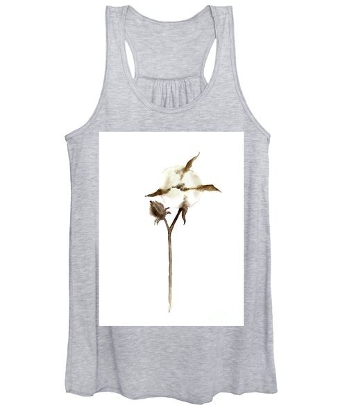 ca363a61 Women's Tank Top featuring the painting Cotton Anniversary Gift For Her,  White Taupe Beige Brown