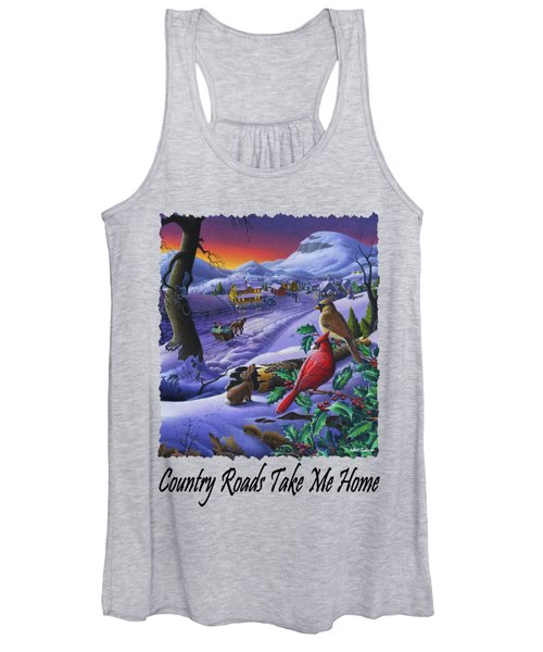 Country Roads Take Me Home - Small Town Winter Landscape With Cardinals - Americana Women's Tank Top