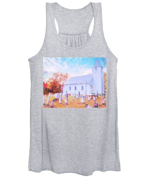 Country White Church And Old Cemetery. Women's Tank Top