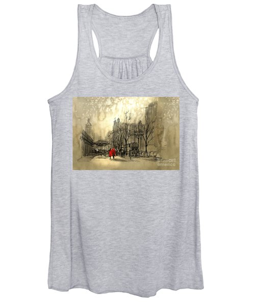 Women's Tank Top featuring the painting Couple In City by Tithi Luadthong