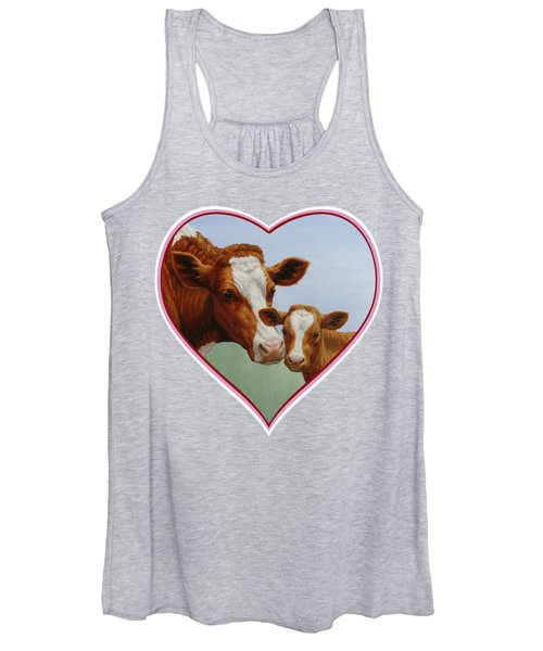 Cow And Calf Pink Heart Women's Tank Top
