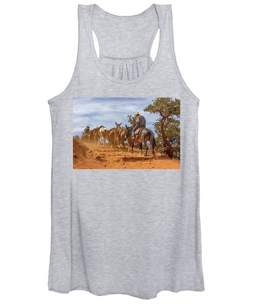 Cowboy And Mule Train On The South Kaibab Trail In The Grand Canyon Women's Tank Top