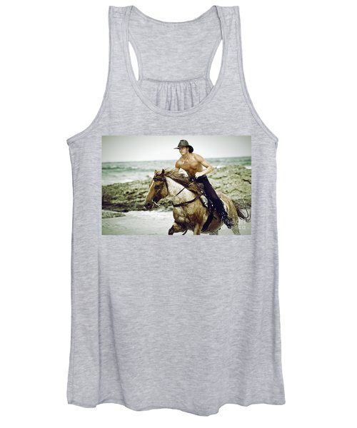 Cowboy Riding Horse On The Beach Women's Tank Top