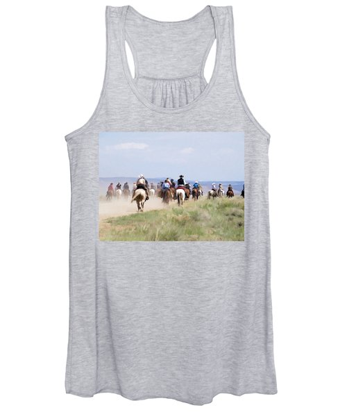 Cowboys And Cowgirls Riding Horses At The Sombrero Horse Drive Women's Tank Top