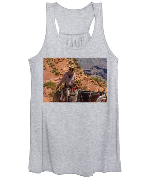 Cowgirl Leading A Mule Train On The South Kaibab Trail Women's Tank Top
