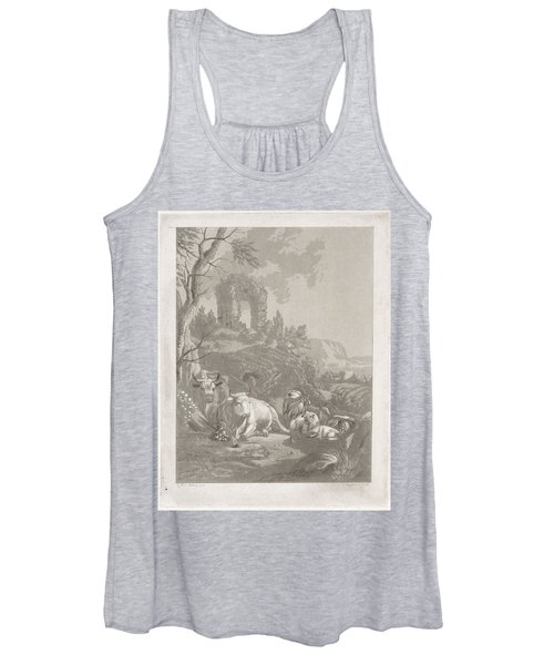 Cows, Goats And Sheep In A Mountainous Landscape With Ruin, Diederik Jan Singendonck, After Christia Women's Tank Top