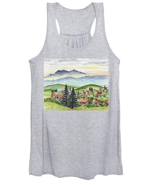 Cozy Little Village In The Mountains Women's Tank Top