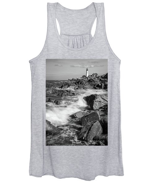 Crashing Waves, Portland Head Light, Cape Elizabeth, Maine  -5605 Women's Tank Top