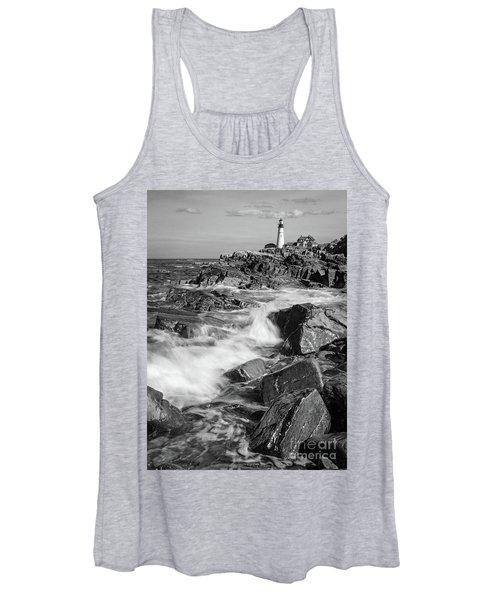 Crashing Waves, Portland Head Light, Cape Elizabeth, Maine  -5605 Women's Tank Top