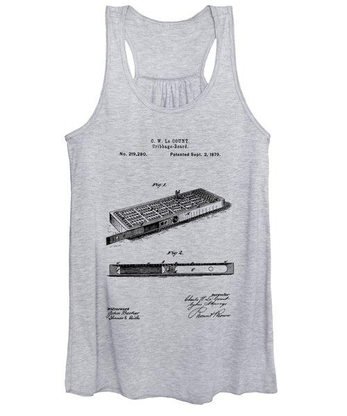 Cribbage Board 1879 Patent Art Transparent Women's Tank Top