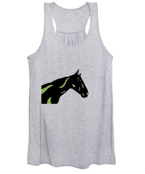 Crimson - Pop Art Horse - Black, Greenery, Purple Women's Tank Top
