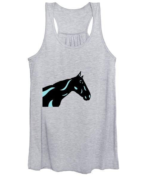Crimson - Pop Art Horse - Black, Island Paradise Blue, Primrose Yellow Women's Tank Top