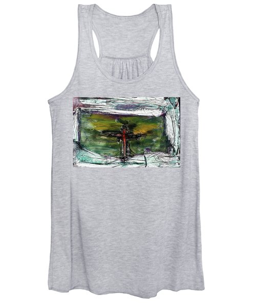 Women's Tank Top featuring the painting Crucifixion #3 by Michael Lucarelli
