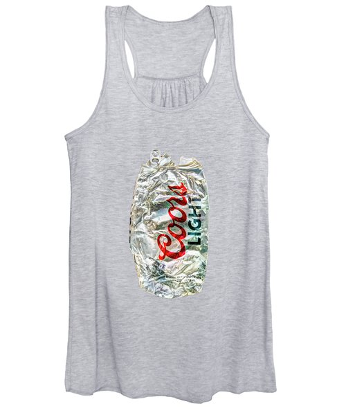 Crushed Light Silver Beer Can On Bw Plywood 79 Women's Tank Top