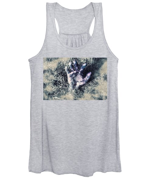 Decaying Zombie Hand Emerging From Ground Women's Tank Top