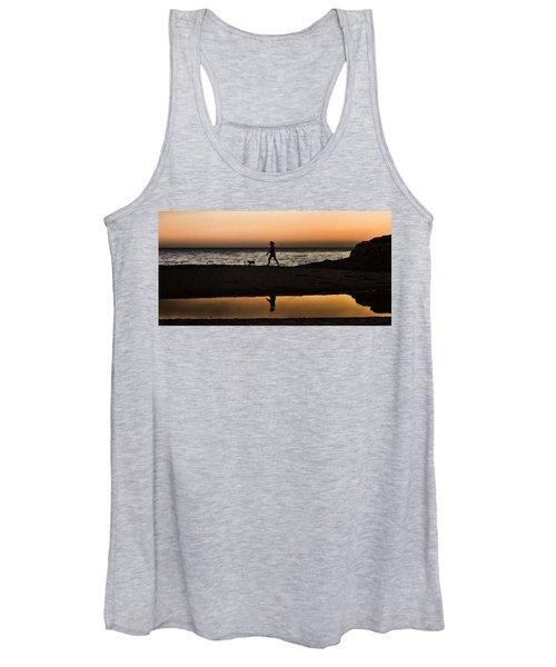 Dog Walker At Sunset Women's Tank Top