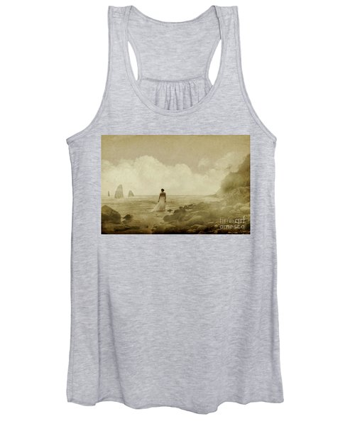 Dramatic Seascape And Woman Women's Tank Top