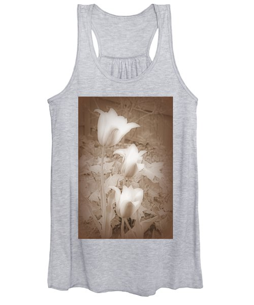 Early Blooming Tulips In Sepia Women's Tank Top