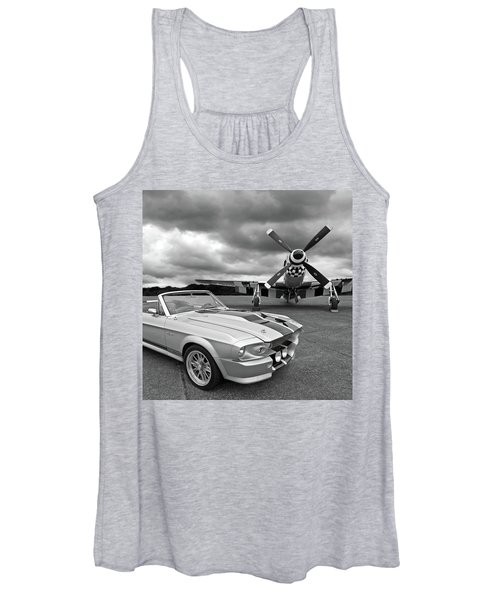 Eleanor Mustang With P51 Black And White Women's Tank Top