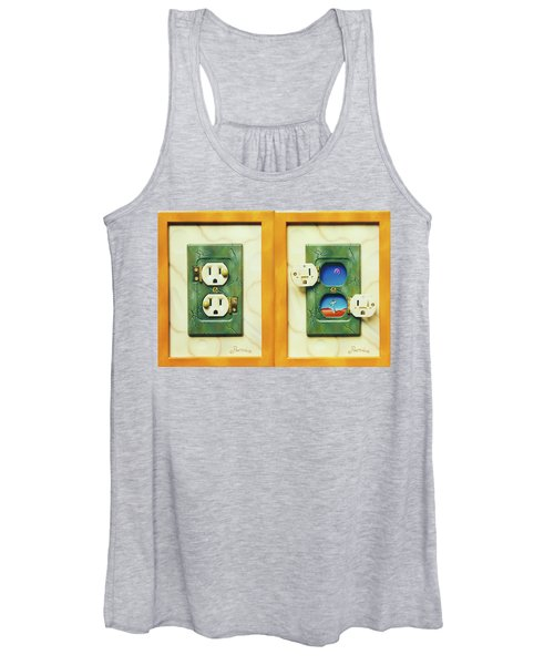 Electric View Miniature Shown Closed And Open Women's Tank Top