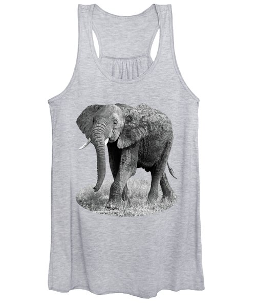 Elephant Happy And Free In Black And White Women's Tank Top