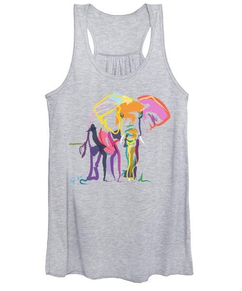 Elephant In Color Ecru Women's Tank Top