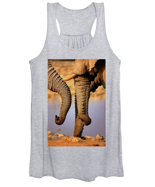 Elephant Trunks Interacting Close-up Women's Tank Top