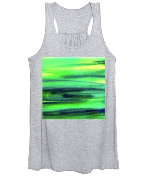 Emerald Flow Abstract Painting Women's Tank Top