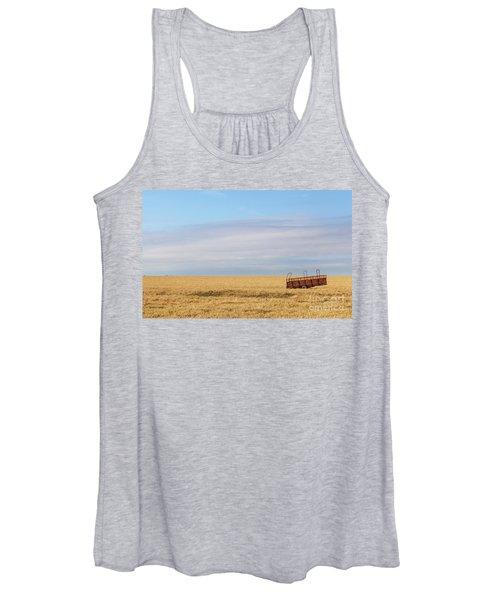 Farm Trailer In The Middle Of Field Women's Tank Top