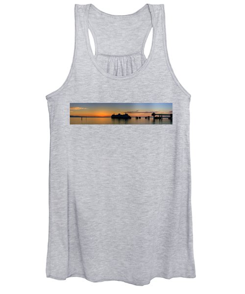 Ferry Boat Arrives To Mukilteo Ferry Terminal Women's Tank Top