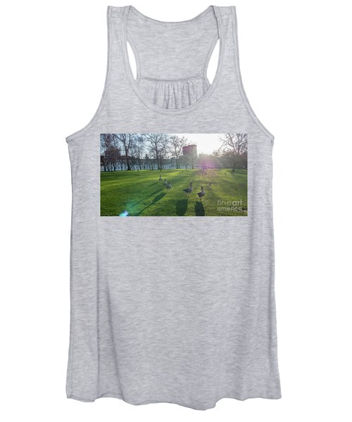 Five Ducks Walking In Line At Sunset With London Museum In The B Women's Tank Top