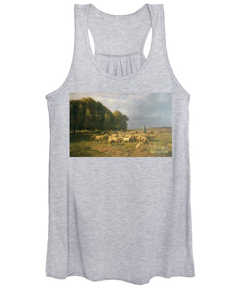 Flock Of Sheep In A Landscape Women's Tank Top
