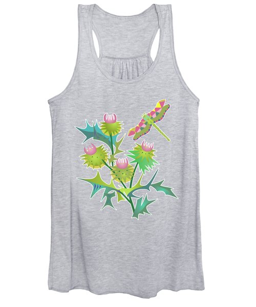Floral Pattern With Thistle Women's Tank Top