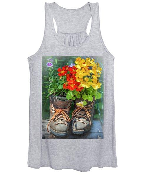 Flower Boots Women's Tank Top