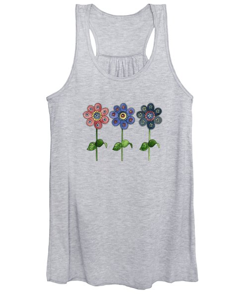 Flower Row On Purple Women's Tank Top