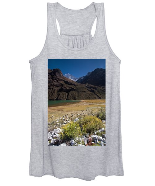 Flowers And Mountain Lake In Santa Cruz Valley Women's Tank Top