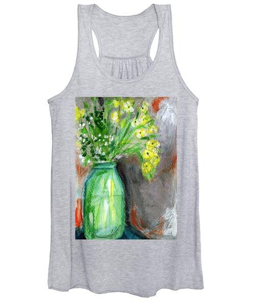 Flowers In A Green Jar- Art By Linda Woods Women's Tank Top