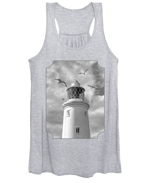 Fly Past - Seagulls Round Southwold Lighthouse In Black And White Women's Tank Top