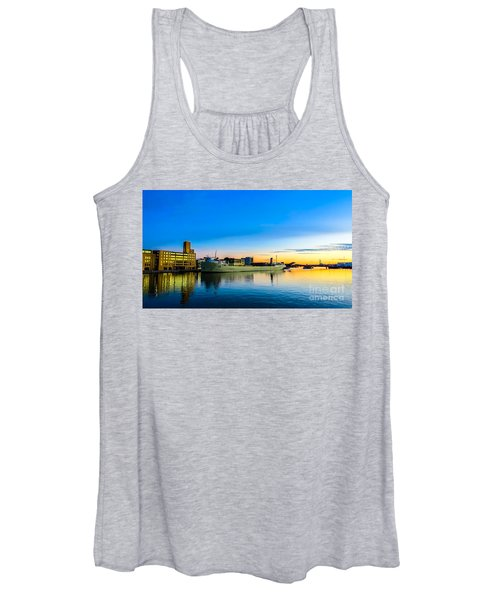 Freighter Alpena On The Fox River Channel In Green Bay Women's Tank Top