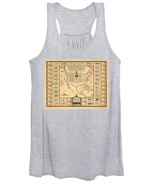 Game Fishing Chart Of North America - Game Fish Varieties - Illustrated Map For Anglers Women's Tank Top