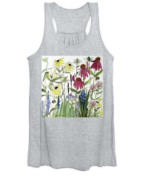 Garden Flowers With Bees Women's Tank Top