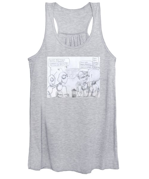 Giant Space Ants And Aliens Drink Coffee And Discuss Humans. Women's Tank Top